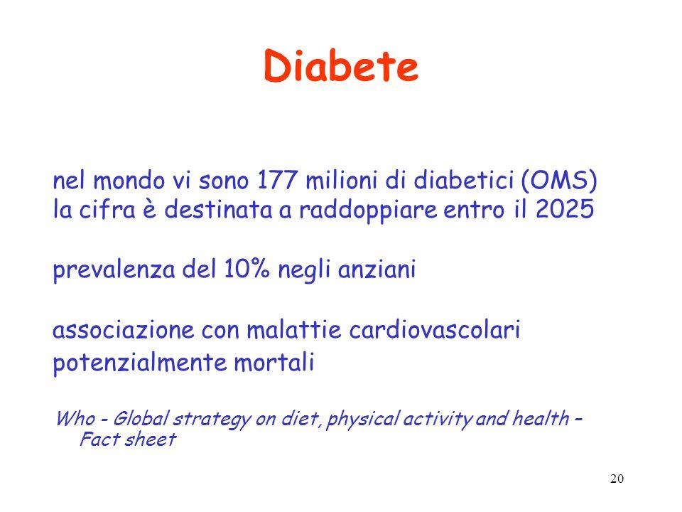 Diabete nel mondo vi sono 177 milioni di diabetici (OMS)