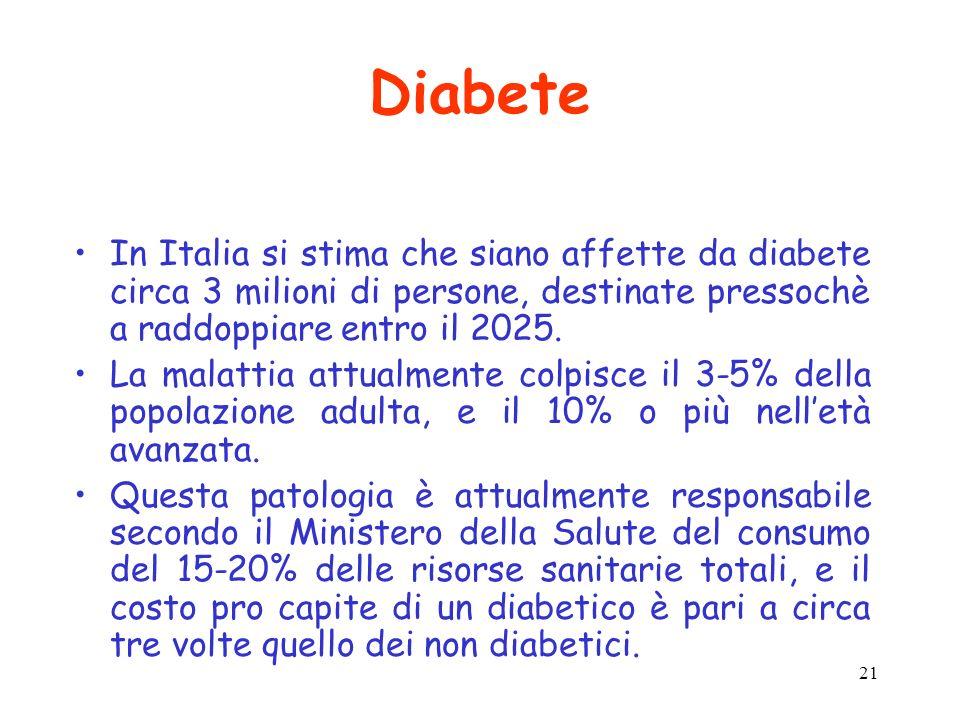 DiabeteIn Italia si stima che siano affette da diabete circa 3 milioni di persone, destinate pressochè a raddoppiare entro il 2025.