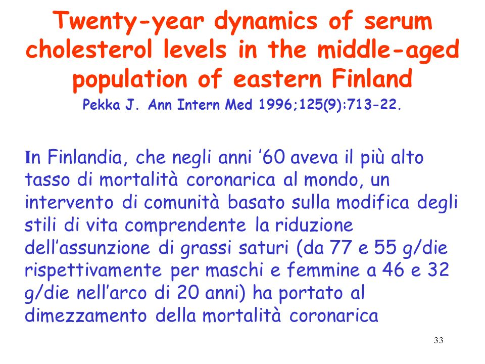 Twenty-year dynamics of serum cholesterol levels in the middle-aged population of eastern Finland Pekka J. Ann Intern Med 1996;125(9):713-22.