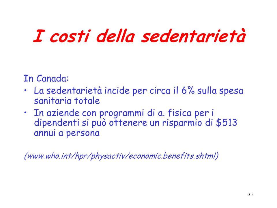 I costi della sedentarietà