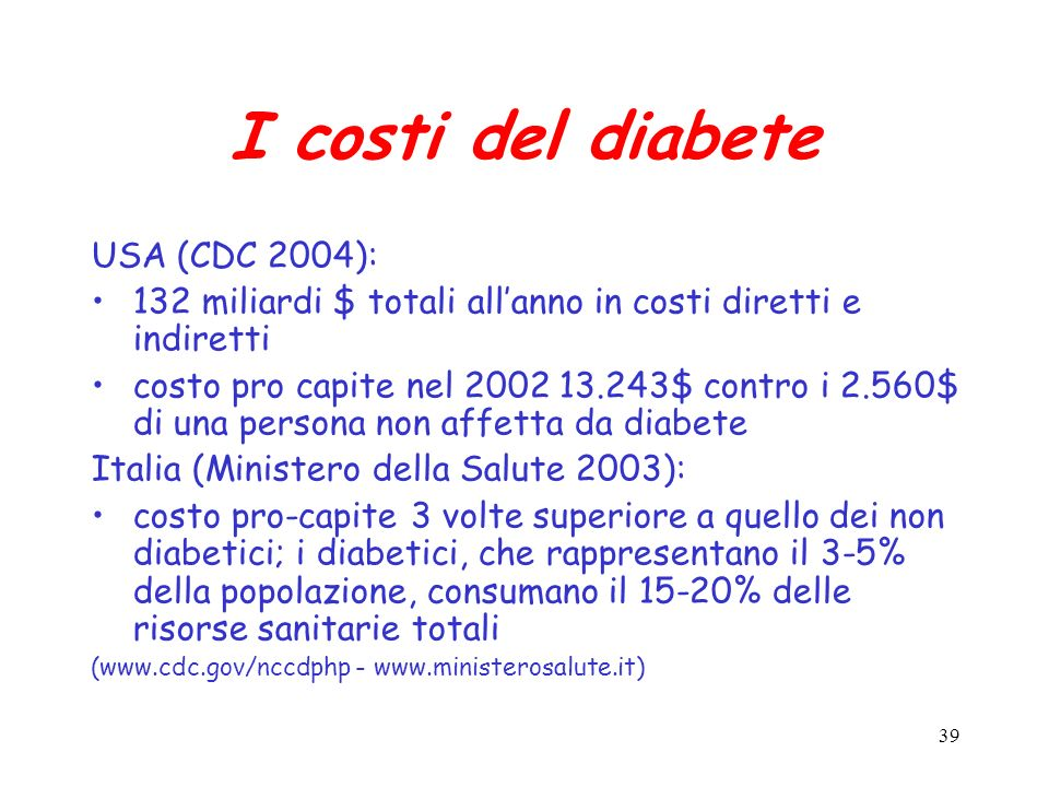 I costi del diabete USA (CDC 2004):