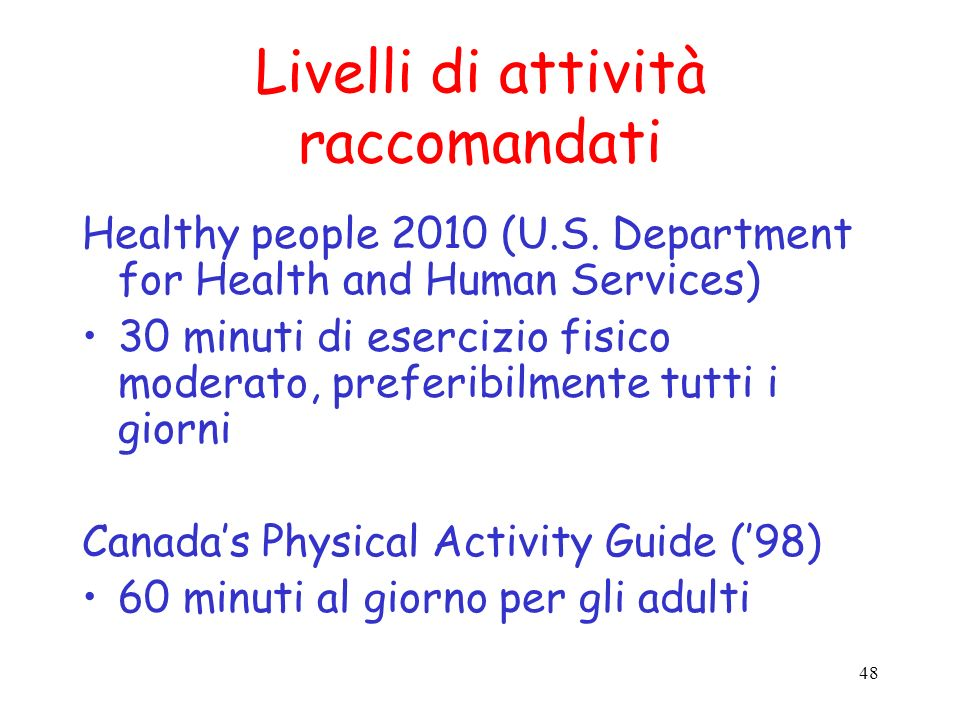 Livelli di attività raccomandati