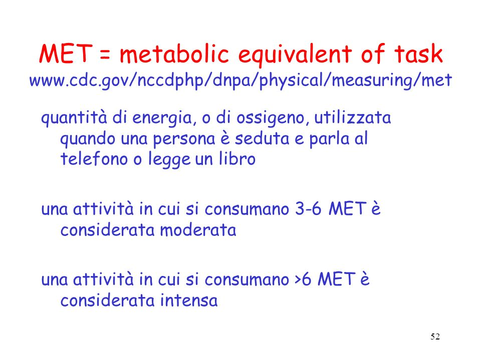 MET = metabolic equivalent of task www. cdc