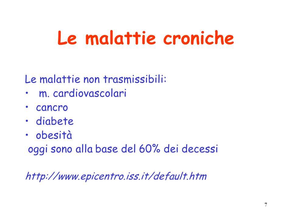 Le malattie croniche Le malattie non trasmissibili: m. cardiovascolari