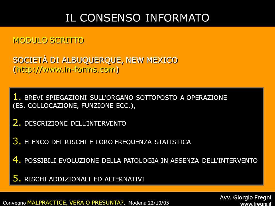IL CONSENSO INFORMATO MODULO SCRITTO. SOCIETÀ DI ALBUQUERQUE, NEW MEXICO. (http://www.in-forms.com)