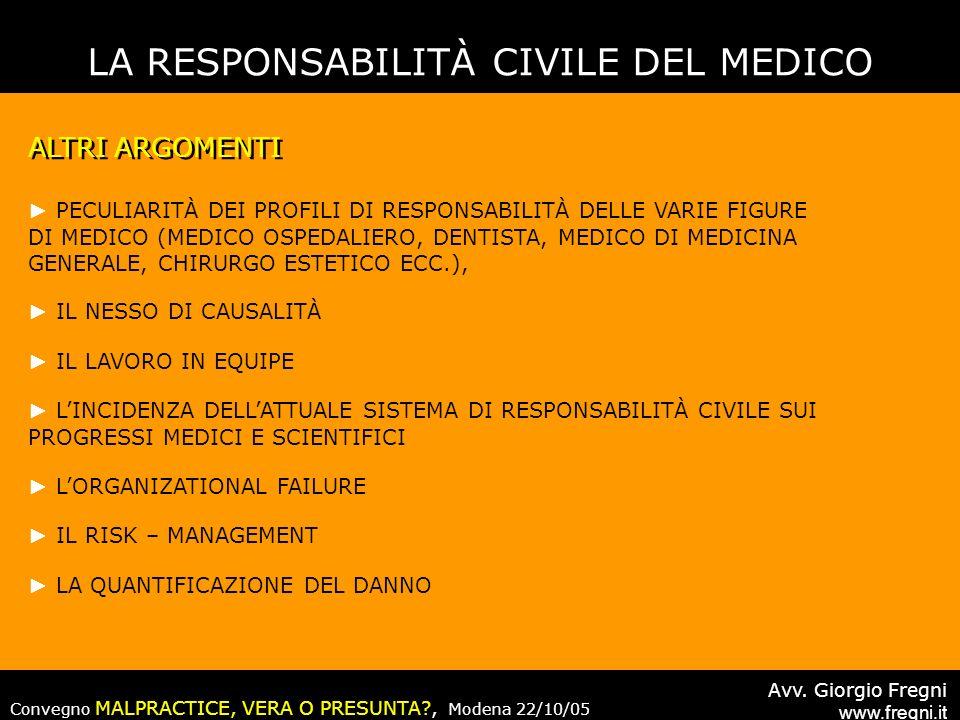 LA RESPONSABILITÀ CIVILE DEL MEDICO