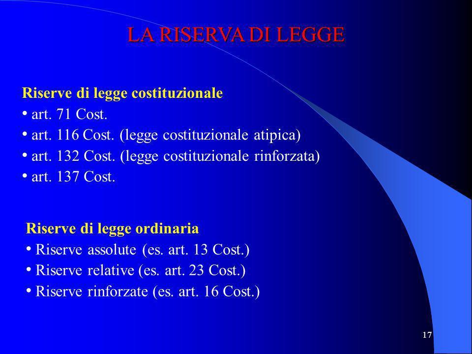 LA RISERVA DI LEGGE Riserve di legge costituzionale art. 71 Cost.