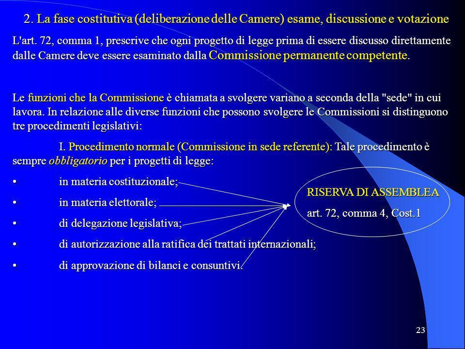 2. La fase costitutiva (deliberazione delle Camere) esame, discussione e votazione