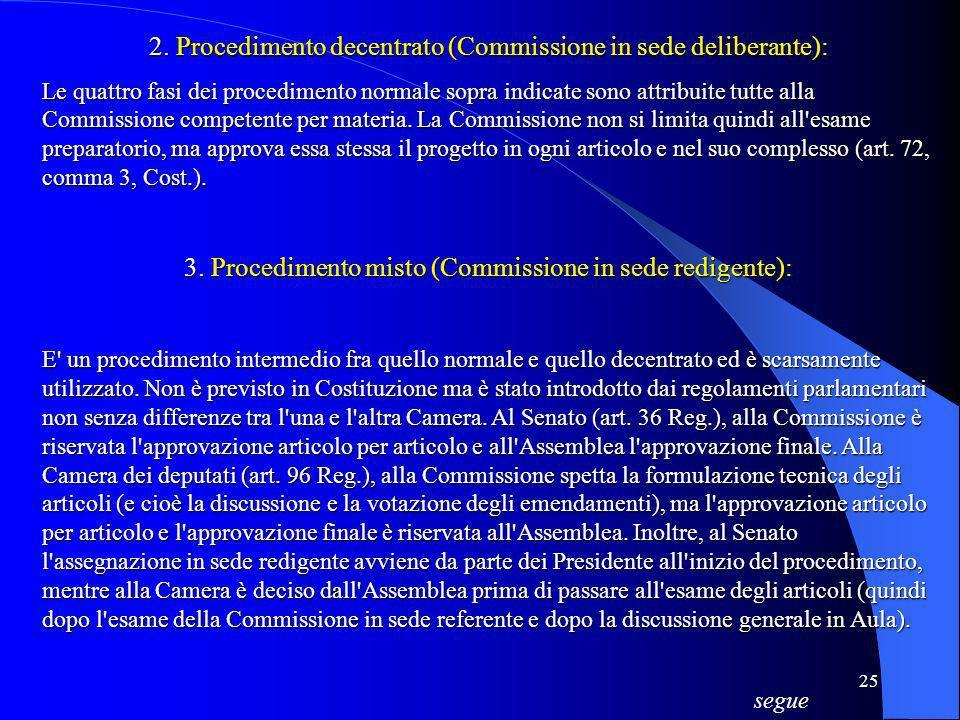 2. Procedimento decentrato (Commissione in sede deliberante):