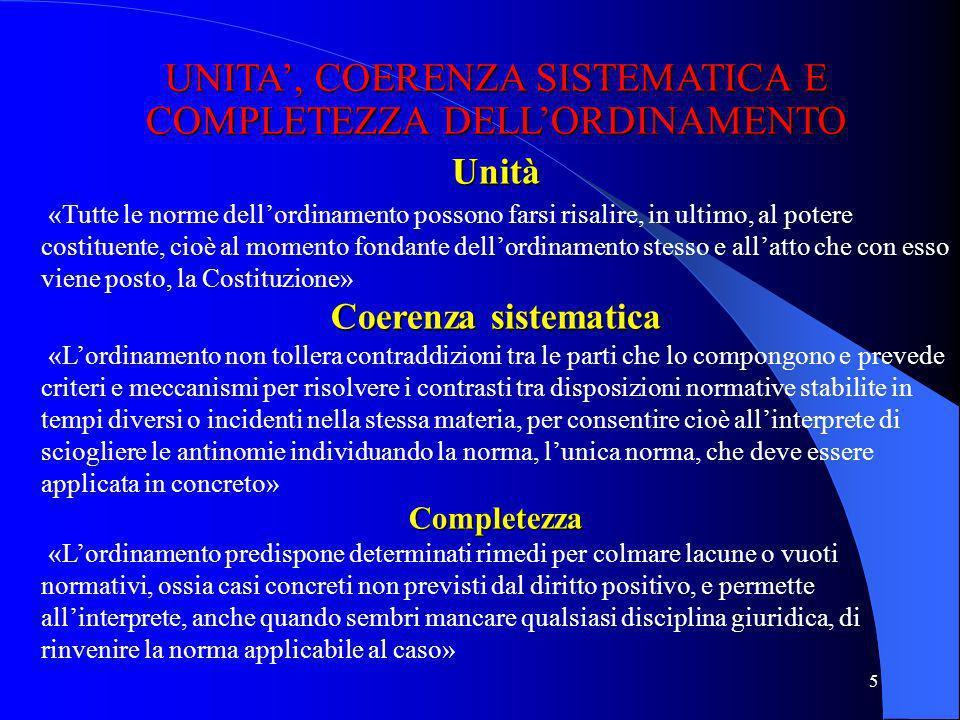 UNITA', COERENZA SISTEMATICA E COMPLETEZZA DELL'ORDINAMENTO