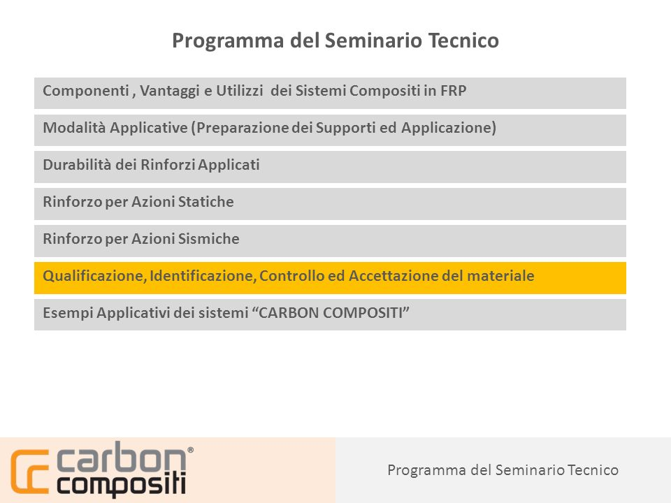 Programma del Seminario Tecnico