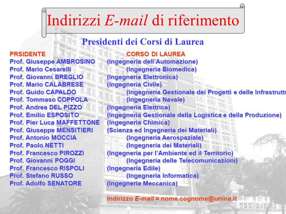Presidenti dei Corsi di Laurea