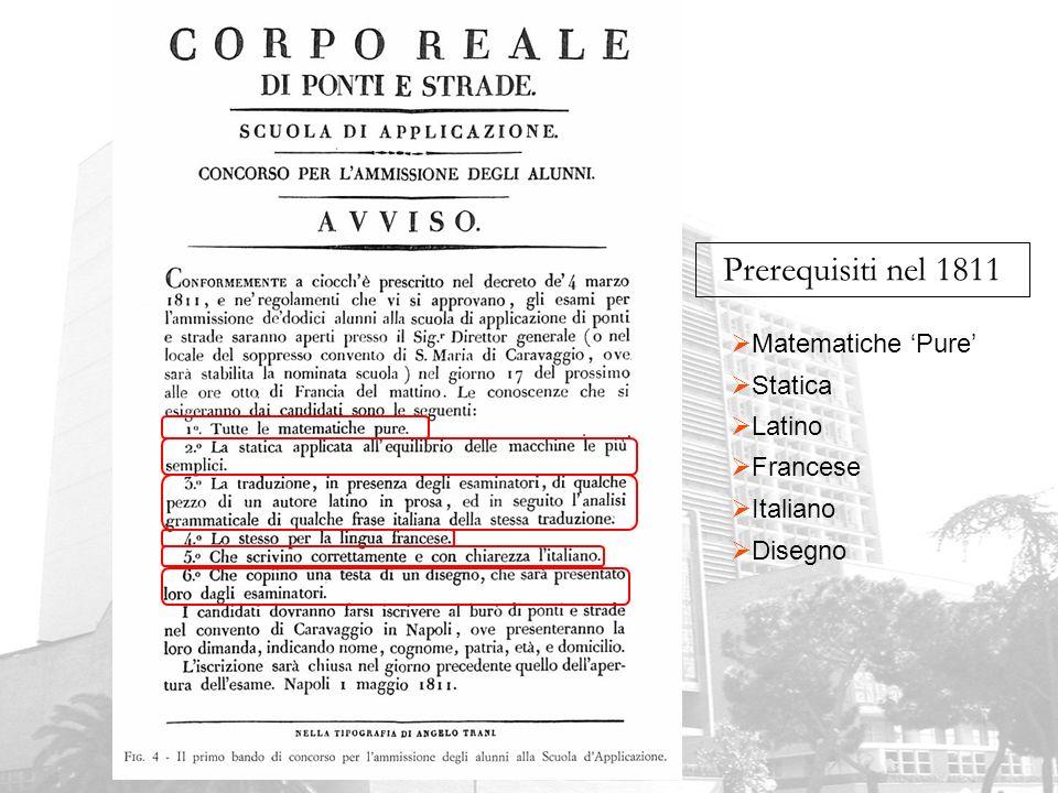 Prerequisiti nel 1811 Matematiche 'Pure' Statica Latino Francese