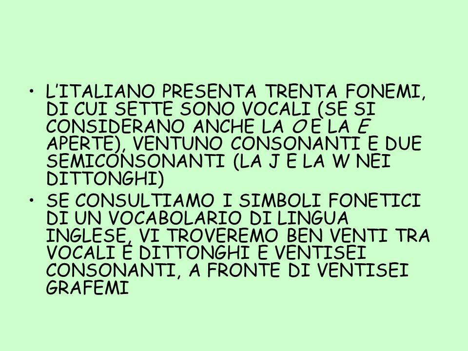 L'ITALIANO PRESENTA TRENTA FONEMI, DI CUI SETTE SONO VOCALI (SE SI CONSIDERANO ANCHE LA O E LA E APERTE), VENTUNO CONSONANTI E DUE SEMICONSONANTI (LA J E LA W NEI DITTONGHI)