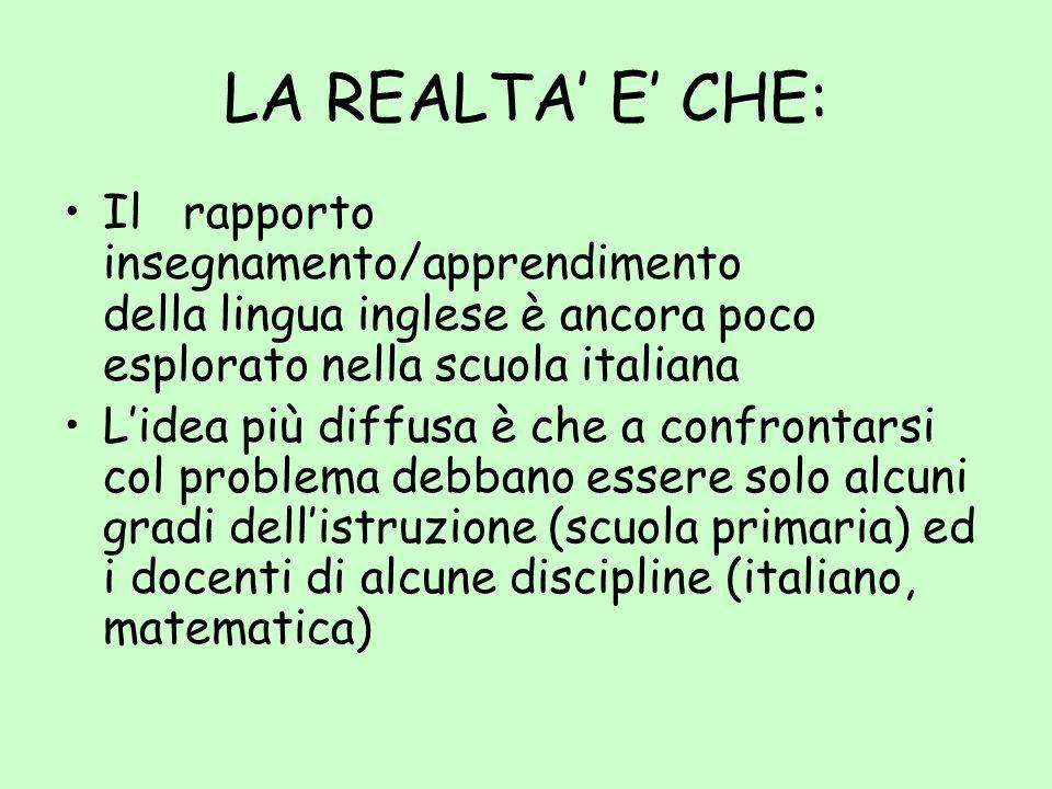 LA REALTA' E' CHE: Il rapporto insegnamento/apprendimento della lingua inglese è ancora poco esplorato nella scuola italiana.
