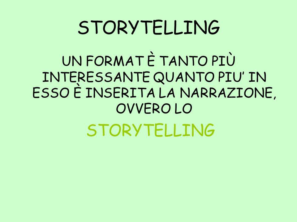 STORYTELLING UN FORMAT È TANTO PIÙ INTERESSANTE QUANTO PIU' IN ESSO È INSERITA LA NARRAZIONE, OVVERO LO.