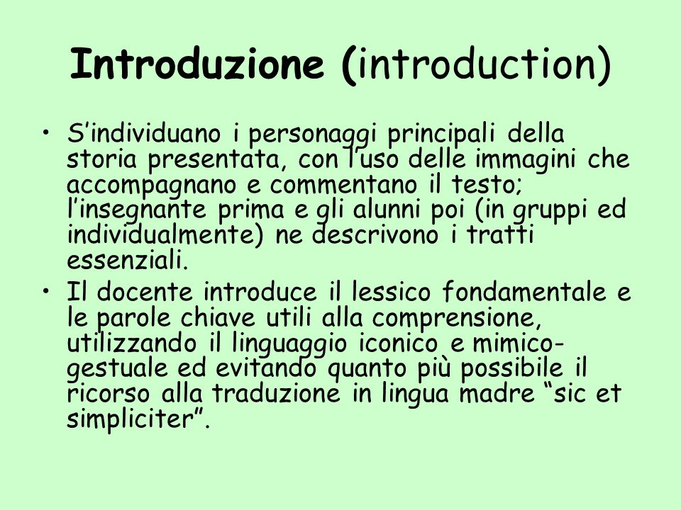 Introduzione (introduction)