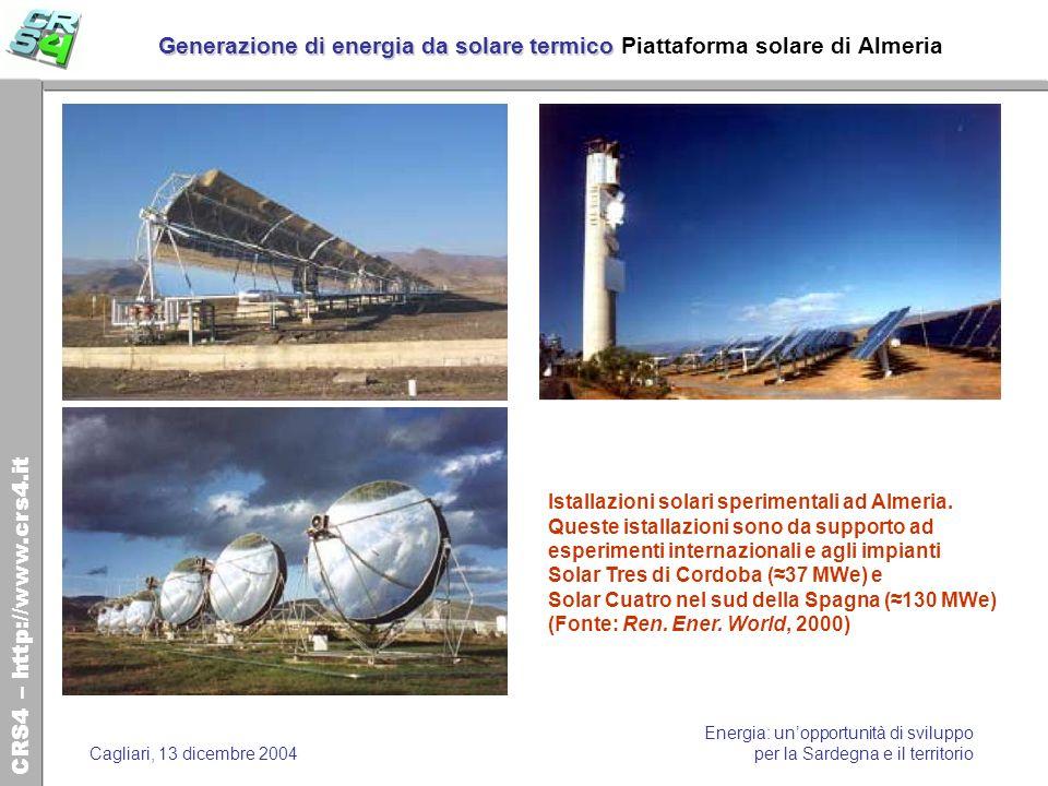 Generazione di energia da solare termico Piattaforma solare di Almeria