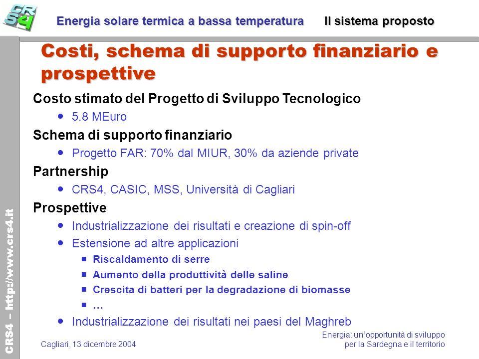 Energia solare termica a bassa temperatura Il sistema proposto