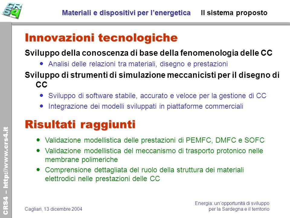Materiali e dispositivi per l'energetica Il sistema proposto