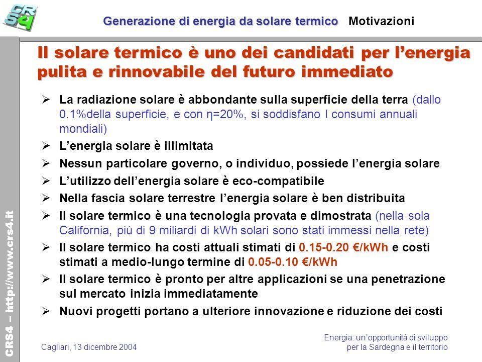 Generazione di energia da solare termico Motivazioni