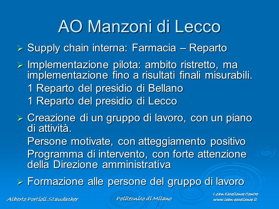 AO Manzoni di Lecco Supply chain interna: Farmacia – Reparto