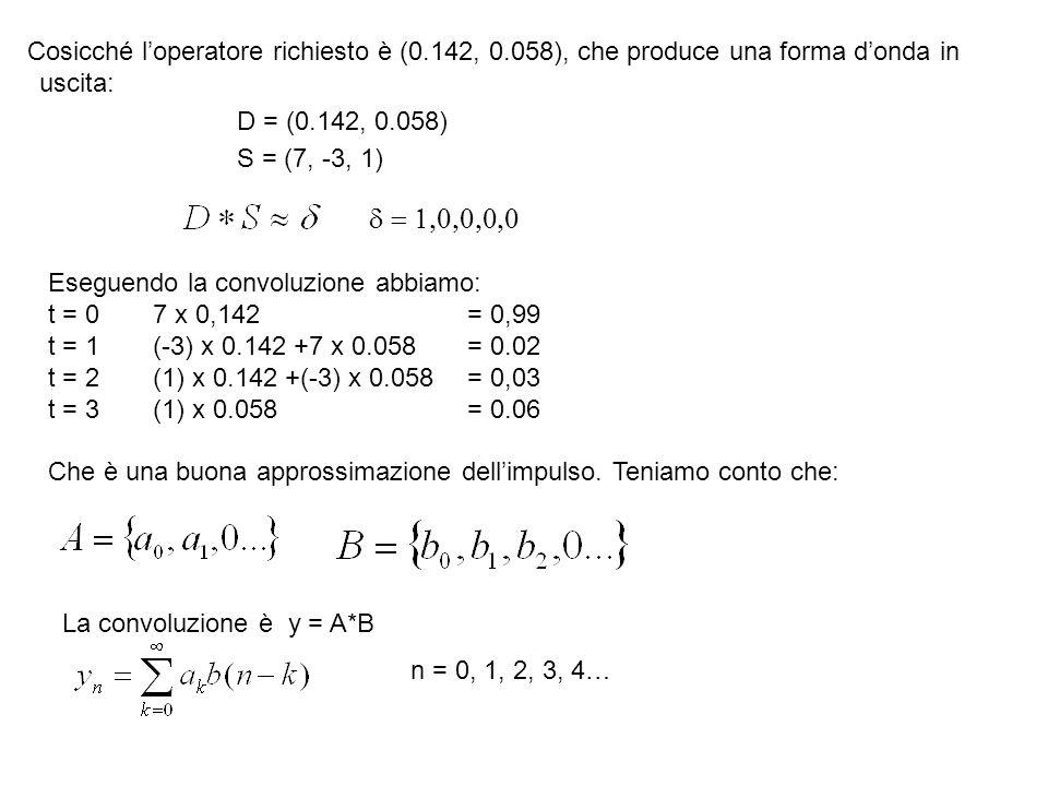 Cosicché l'operatore richiesto è (0. 142, 0