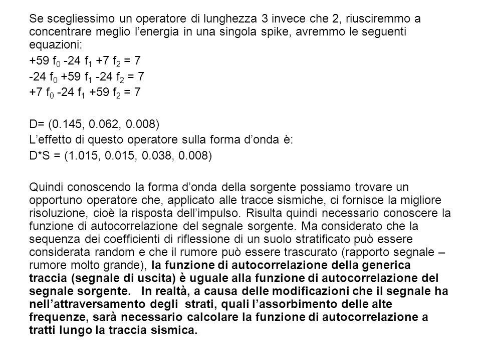 Se scegliessimo un operatore di lunghezza 3 invece che 2, riusciremmo a concentrare meglio l'energia in una singola spike, avremmo le seguenti equazioni: