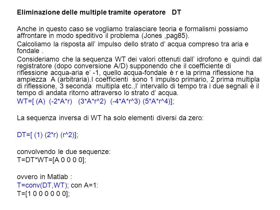 Eliminazione delle multiple tramite operatore DT