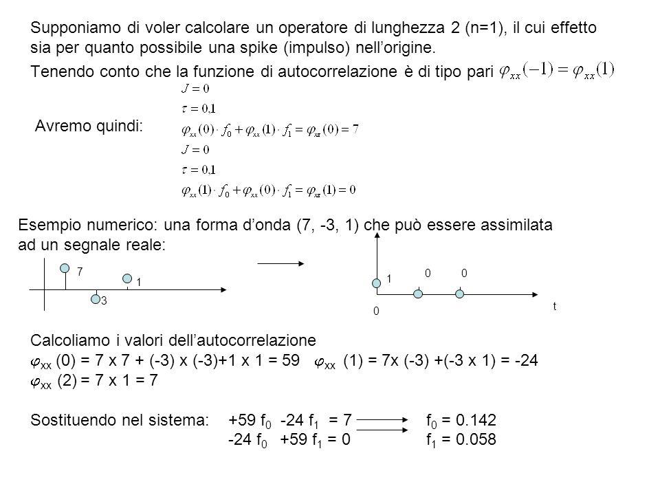 Tenendo conto che la funzione di autocorrelazione è di tipo pari