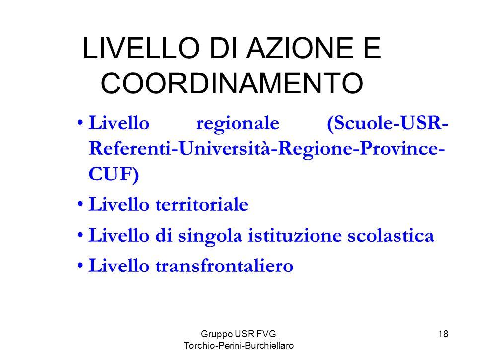 LIVELLO DI AZIONE E COORDINAMENTO