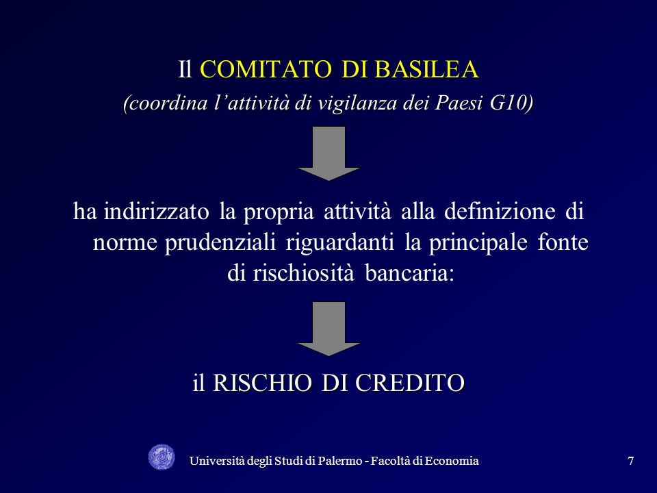 Il COMITATO DI BASILEA(coordina l'attività di vigilanza dei Paesi G10)