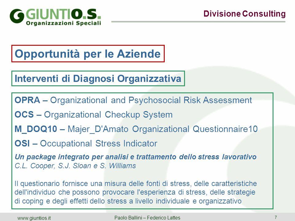 Opportunità per le Aziende Interventi di Diagnosi Organizzativa