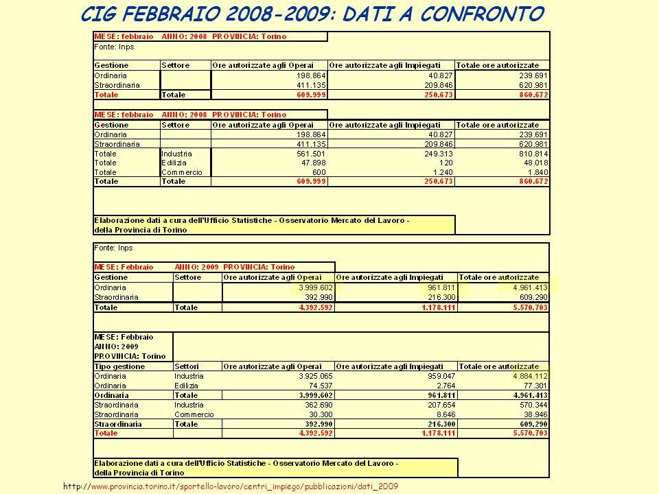 CIG FEBBRAIO 2008-2009: DATI A CONFRONTO