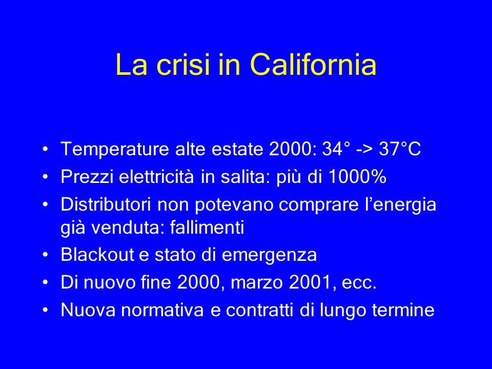 La crisi in California Temperature alte estate 2000: 34° -> 37°C