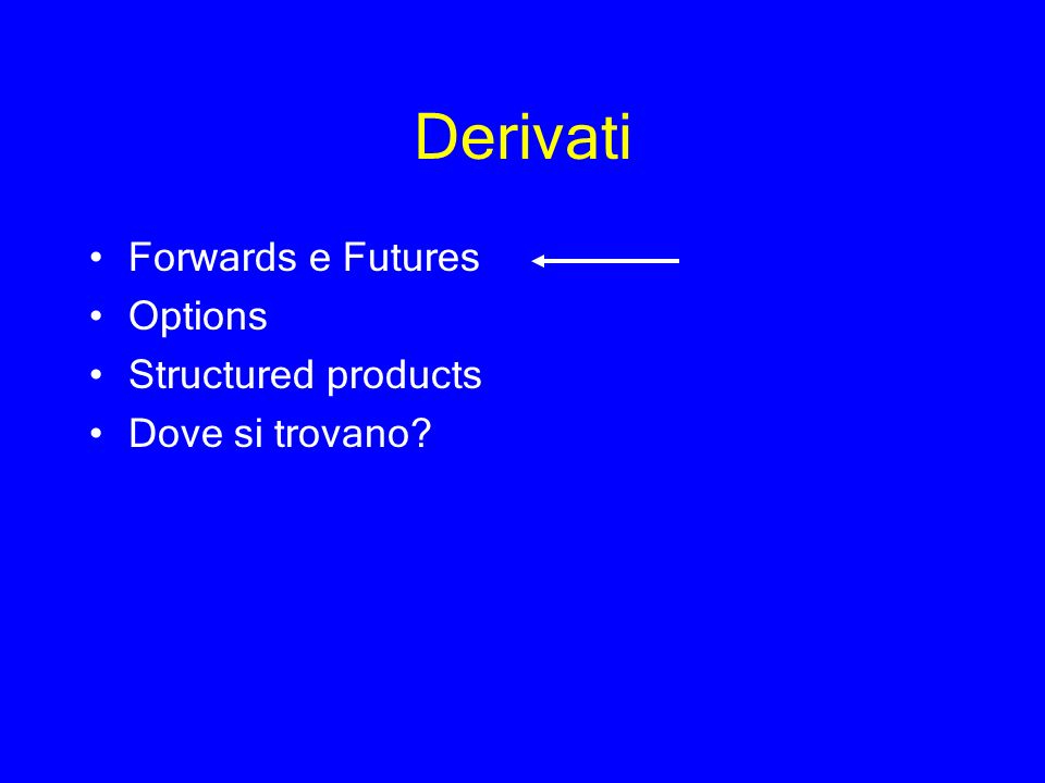 Derivati Forwards e Futures Options Structured products