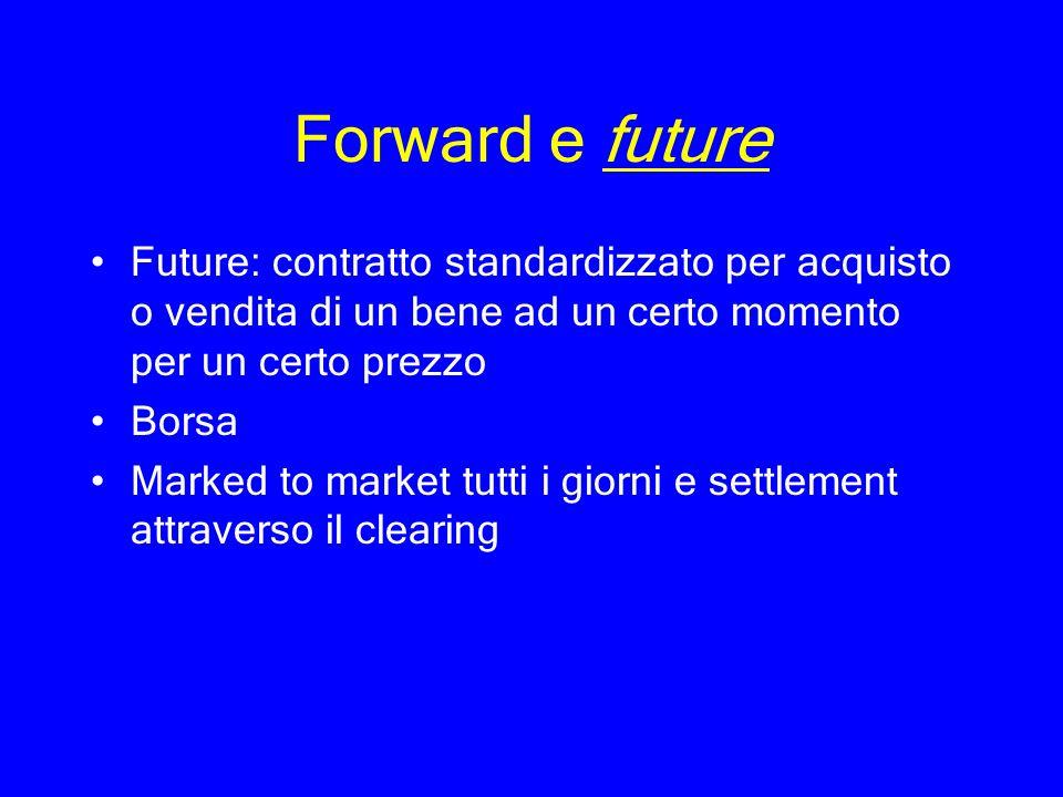 Forward e future Future: contratto standardizzato per acquisto o vendita di un bene ad un certo momento per un certo prezzo.