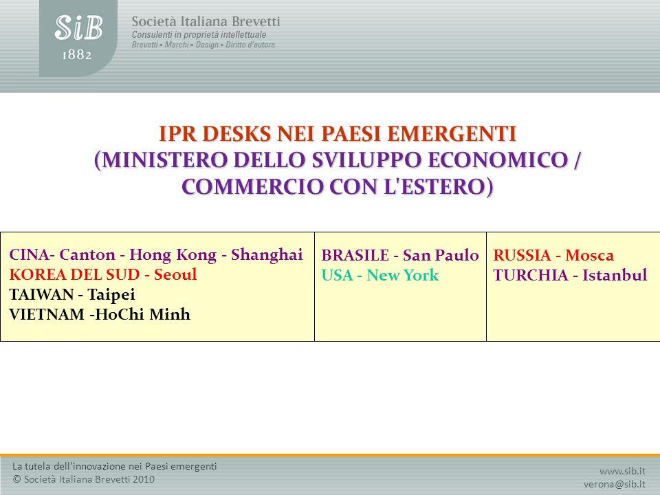 IPR DESKS NEI PAESI EMERGENTI