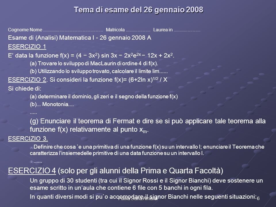 Tema di esame del 26 gennaio 2008