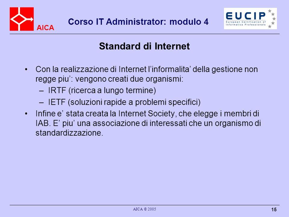 Standard di Internet Con la realizzazione di Internet l'informalita' della gestione non regge piu': vengono creati due organismi: