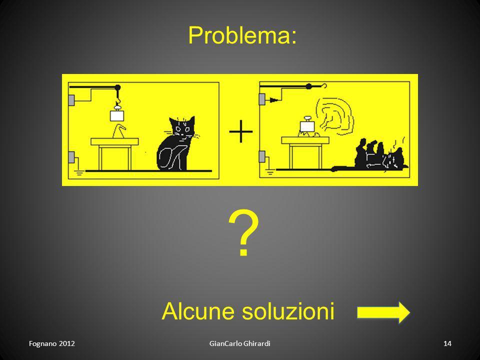 Problema: Alcune soluzioni Fognano 2012 GianCarlo Ghirardi