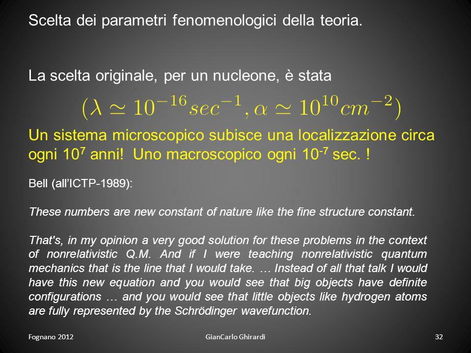 Scelta dei parametri fenomenologici della teoria.