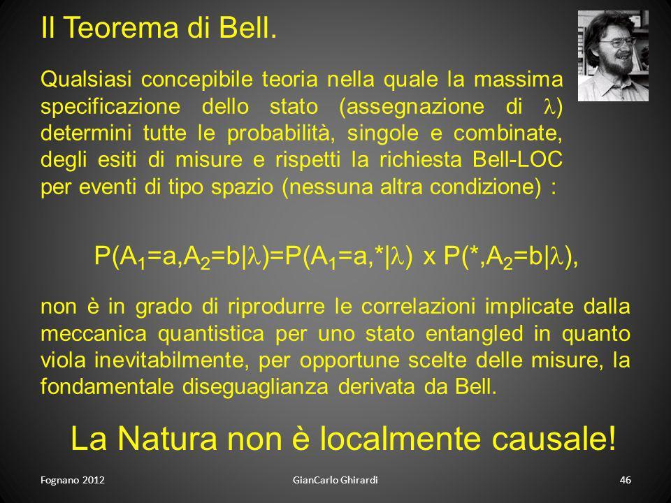 La Natura non è localmente causale!