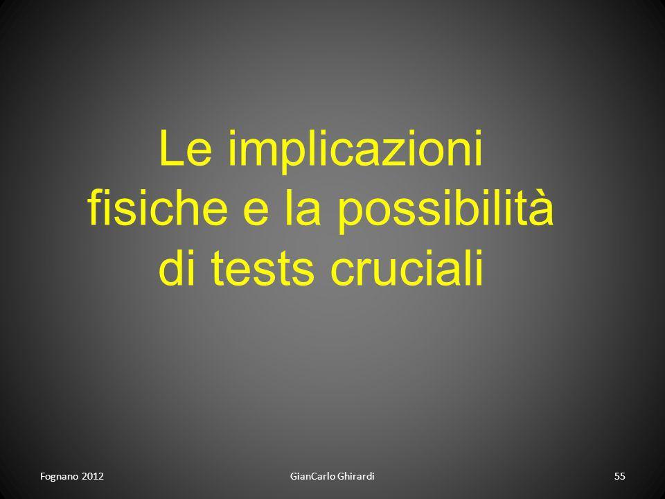 Le implicazioni fisiche e la possibilità di tests cruciali