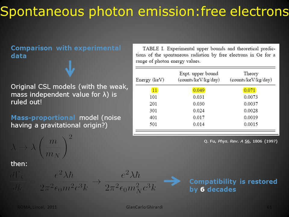 Spontaneous photon emission:free electrons