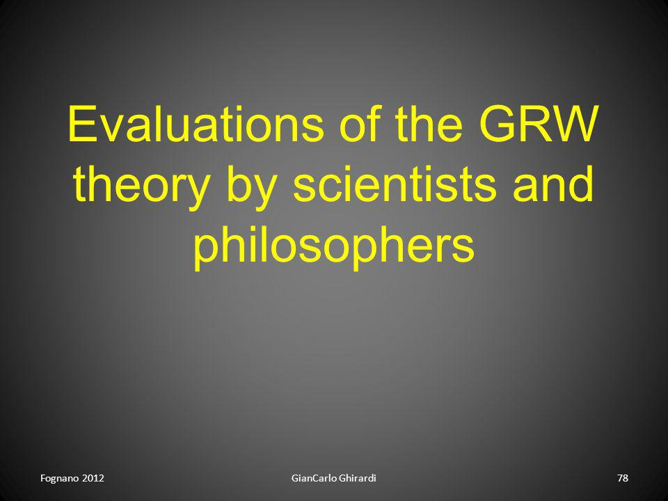 Evaluations of the GRW theory by scientists and philosophers