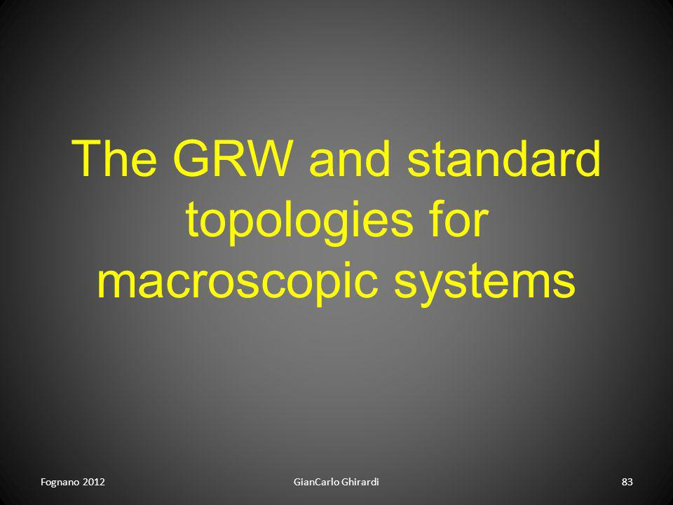 The GRW and standard topologies for macroscopic systems