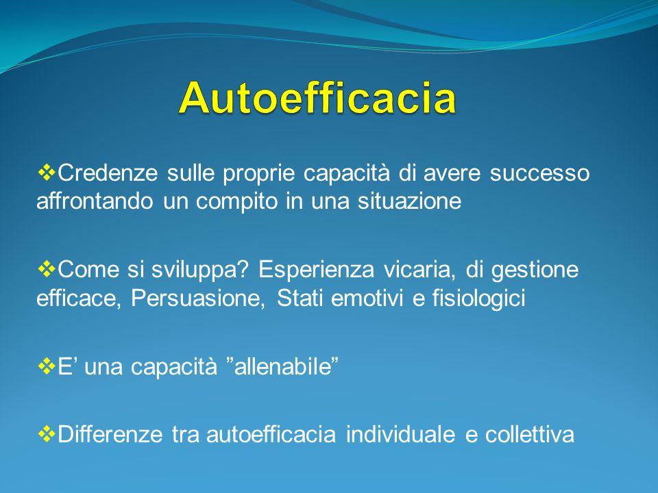 AutoefficaciaCredenze sulle proprie capacità di avere successo affrontando un compito in una situazione.