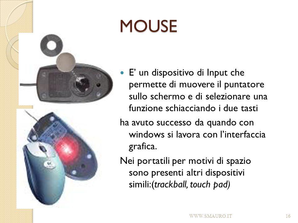 MOUSE E' un dispositivo di Input che permette di muovere il puntatore sullo schermo e di selezionare una funzione schiacciando i due tasti.