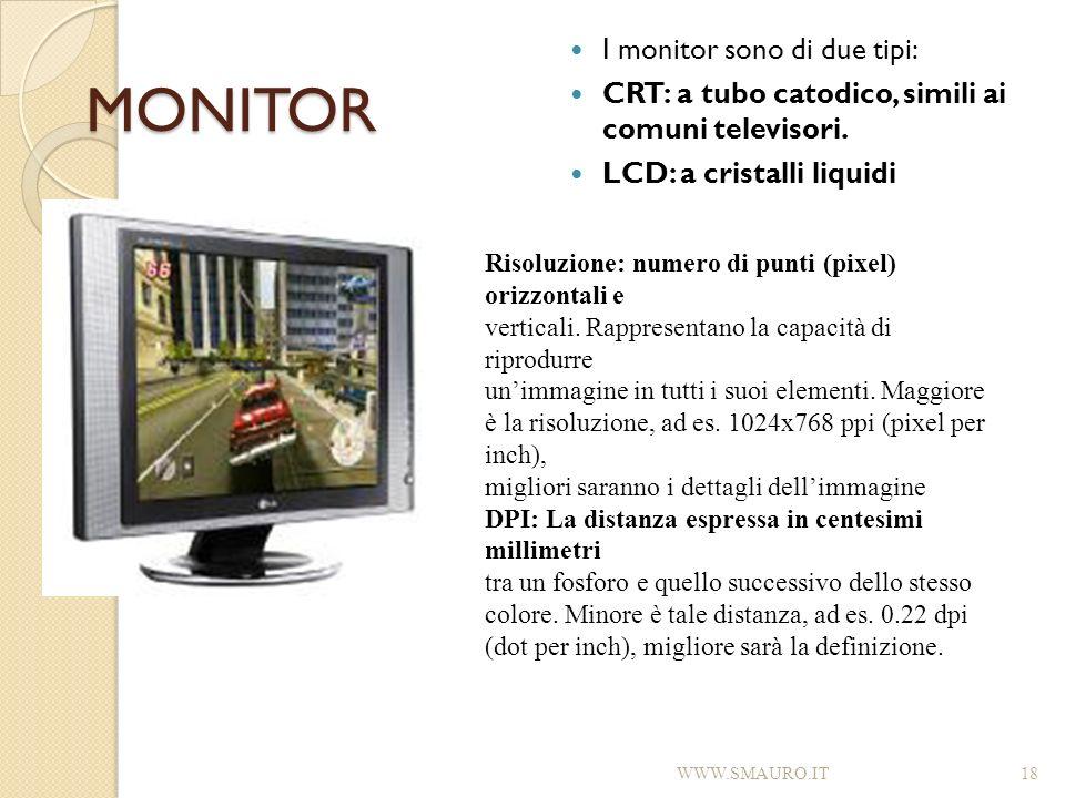 MONITOR I monitor sono di due tipi: